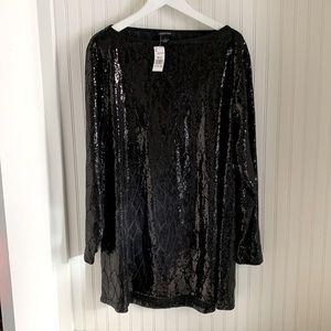 NWT Lundström Sequin Black Long Sleeve Dress
